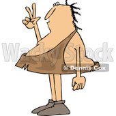 Clipart of a Caveman Gesturing Peace - Royalty Free Vector Illustration © djart #1261821