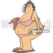 Clipart of a Fat White Woman in a Bikini - Royalty Free Vector Illustration © djart #1261822