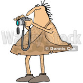 Clipart of a Hairy Caveman Taking Pictures - Royalty Free Vector Illustration © djart #1261823