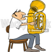 Clipart of a Chubby Caucasian Man Sitting and Playing a Tuba - Royalty Free Vector Illustration © djart #1261825