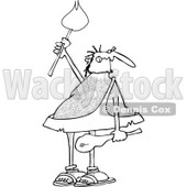 Clipart of a Black and White Hairy Caveman Holding a Torch - Royalty Free Vector Illustration © djart #1263499
