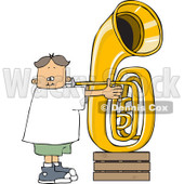 Clipart of a White Boy Playing a Tuba - Royalty Free Vector Illustration © Dennis Cox #1263501