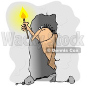 Clipart of a Caveman Holding a Torch in a Cave - Royalty Free Illustration © Dennis Cox #1263503