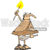 Clipart of a Hairy Caveman Holding a Torch - Royalty Free Vector Illustration © djart #1263504