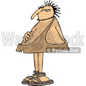 Clipart of a Hairy Caveman with an Upset Tummy - Royalty Free Vector Illustration © Dennis Cox #1263505