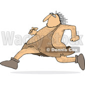 Clipart of a Hairy Caveman Running - Royalty Free Vector Illustration © Dennis Cox #1264576