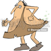 Clipart of a Hairy Caveman Farting - Royalty Free Vector Illustration © djart #1265327