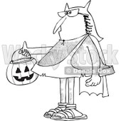 Clipart of a Black and White Hairy Caveman Trick or Treating in a Bat Man Halloween Costume - Royalty Free Vector Illustration © djart #1265333