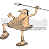 Clipart of a Hairy Caveman Throwing a Spear - Royalty Free Vector Illustration © Dennis Cox #1266821