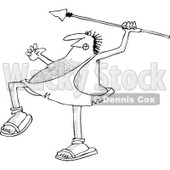 Clipart of a Black and White Hairy Caveman Throwing a Spear - Royalty Free Vector Illustration © djart #1266822