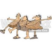Clipart of Cavemen Dancing the Can Can - Royalty Free Vector Illustration © Dennis Cox #1267124
