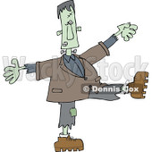 Clipart of a Halloween Frankenstein Dancing - Royalty Free Vector Illustration © djart #1267144
