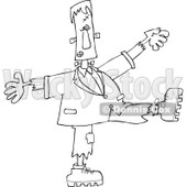 Clipart of a Black and White Halloween Frankenstein Dancing - Royalty Free Vector Illustration © djart #1267145