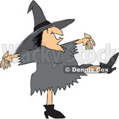 Clipart of a Chubby Halloween Witch Dancing - Royalty Free Vector Illustration © Dennis Cox #1267147