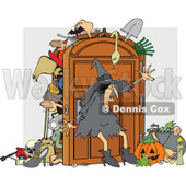 Clipart of a Witch Trying to Keep Everything in Her Full Closet - Royalty Free Vector Illustration © djart #1267959