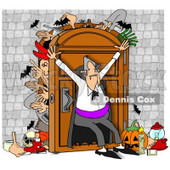 Clipart of a Dracula Vampire Hoarder Trying to Keep Bodies and Items in a Full Closet - Royalty Free Illustration © djart #1269079
