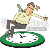 Clipart of a Caucasian Businessman Falling Back on a Green Wall Clock - Royalty Free Vector Illustration © djart #1269080