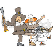 Clipart of a Thanksgiving Turkey Bird and Pilgrim Couple Dancing the Can Can - Royalty Free Vector Illustration © djart #1269329