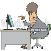 Clipart of a Caucasian Angry Business Woman Yelling at Her Computer Desk - Royalty Free Vector Illustration © Dennis Cox #1270293