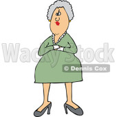 Clipart of a White Stern or Angry Senior Woman with Folded Arms - Royalty Free Vector Illustration © djart #1270296
