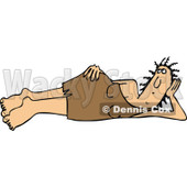 Clipart of a Cavewoman Laying on Her Side - Royalty Free Vector Illustration © djart #1271621