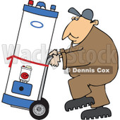 Clipart of a Caucasian Worker Man Moving a Water Heater on a Dolly - Royalty Free Vector Illustration © djart #1271623