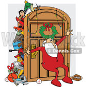 Clipart of a Santa Claus in His Pajamas, Leaning Against an Overflowing Closet Door - Royalty Free Vector Illustration © djart #1271644