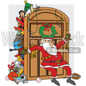 Clipart of a Santa Claus Leaning Against an Overflowing Closet Door - Royalty Free Vector Illustration © djart #1271645