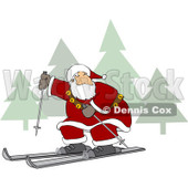 Clipart of Santa Skiing Through a Christmas Winter Landscape - Royalty Free Vector Illustration © djart #1272911