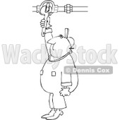 Clipart of a Black and White Worker Man Plumber Turning a Valve - Royalty Free Vector Illustration © djart #1272913