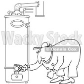 Clipart of a Black and White Worker Man Bending over and Checking a Water Heater - Royalty Free Vector Illustration © Dennis Cox #1272914