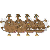 Clipart of a Chorus of Brown Cows Dancing the Can Can - Royalty Free Vector Illustration © djart #1272916