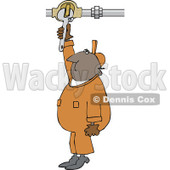 Clipart of a Black Worker Man Plumber Turning a Valve - Royalty Free Vector Illustration © djart #1272917