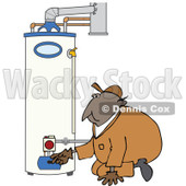 Clipart of a Black Worker Man Kneeling and Checking a Water Heater - Royalty Free Vector Illustration © djart #1272918