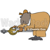Clipart of a Black Worker Man Plumber Bending over and Turning a Valve - Royalty Free Vector Illustration © djart #1272919