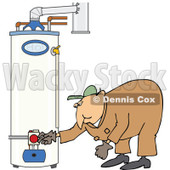 Clipart of a White Worker Man Bending over and Checking a Water Heater - Royalty Free Vector Illustration © djart #1272920