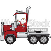 Clipart of Santa Driving a Christmas Big Rig Truck - Royalty Free Vector Illustration © djart #1273848