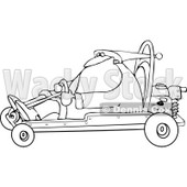 Clipart of a Black and White Santa Driving a Christmas Go Kart - Royalty Free Vector Illustration © djart #1273850