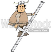 Clipart of a Viking Man Holding a Sword and Climbing a Ladder - Royalty Free Vector Illustration © djart #1273857