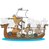 Clipart of Viking Men Geared for War on a Boat - Royalty Free Illustration © Dennis Cox #1273859