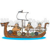 Clipart of Viking Men Geared for War and Sailing on a Boat - Royalty Free Illustration © djart #1273860