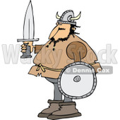 Clipart of a Viking Man Holding a Sword and Shield - Royalty Free Vector Illustration © Dennis Cox #1273861