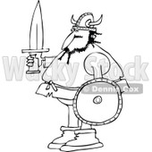 Clipart of a Black and White Viking Man Holding a Sword and Shield - Royalty Free Vector Illustration © djart #1273862