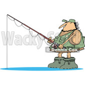 Clipart of a Hairy Fishing Caveman with Gear - Royalty Free Vector Illustration © djart #1275533