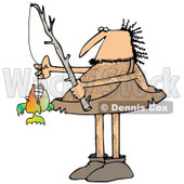 Clipart of a Hairy Caveman with a Fishing Pole and His Monster Catch - Royalty Free Illustration © djart #1275534