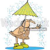Clipart of a Hairy Caveman Reaching out into the Rain from Under an Umbrella - Royalty Free Vector Illustration © djart #1275535