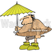 Clipart of a Hairy Caveman Holding a Club and Standing Under an Umbrella - Royalty Free Vector Illustration © djart #1275536