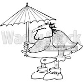 Clipart of a Black and White Hairy Caveman Holding a Club and Standing Under an Umbrella - Royalty Free Vector Illustration © Dennis Cox #1275537