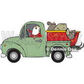 Clipart of Santa Claus in Pajamas, Driving a Pickup Truck with His Christmas Sleigh and Sacks in the Bed - Royalty Free Vector Illustration © djart #1276494
