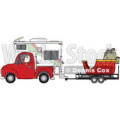 Clipart of Santa Claus in Pajamas, Driving a Pickup Truck with a Camper and His Christmas Sleigh on a Trailer - Royalty Free Vector Illustration © djart #1276495